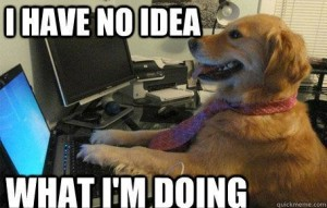 "dog with computer meme, caption ""I have no idea what I'm doing"""